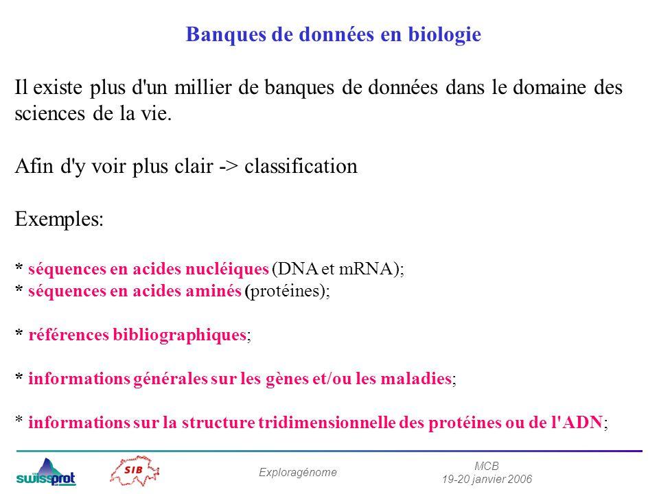 MCB 19-20 janvier 2006 Exploragénome Banques de données en biologie Il existe plus d'un millier de banques de données dans le domaine des sciences de