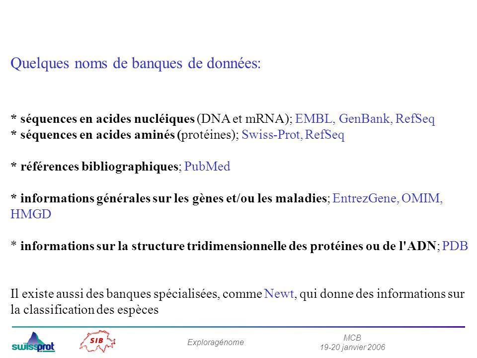 MCB 19-20 janvier 2006 Exploragénome Quelques noms de banques de données: * séquences en acides nucléiques (DNA et mRNA); EMBL, GenBank, RefSeq * séquences en acides aminés (protéines); Swiss-Prot, RefSeq * références bibliographiques; PubMed * informations générales sur les gènes et/ou les maladies; EntrezGene, OMIM, HMGD * informations sur la structure tridimensionnelle des protéines ou de l ADN; PDB Il existe aussi des banques spécialisées, comme Newt, qui donne des informations sur la classification des espèces