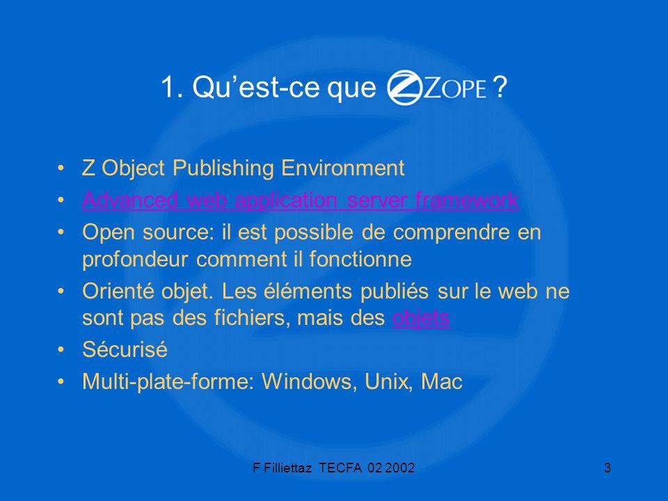 F Filliettaz TECFA 02 200254 L environnement de développement Utilisateurs, rôles et permissions –Il est possible et très pratique de créer des rôles locaux pour des objets qui ne sont pas des conteneurs (DTML Document en particulier) Modification des permissions Dans l onglet Security de l objet.