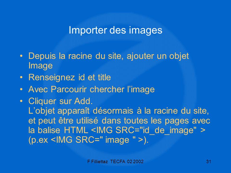 F Filliettaz TECFA 02 200231 Importer des images Depuis la racine du site, ajouter un objet Image Renseignez id et title Avec Parcourir chercher limag