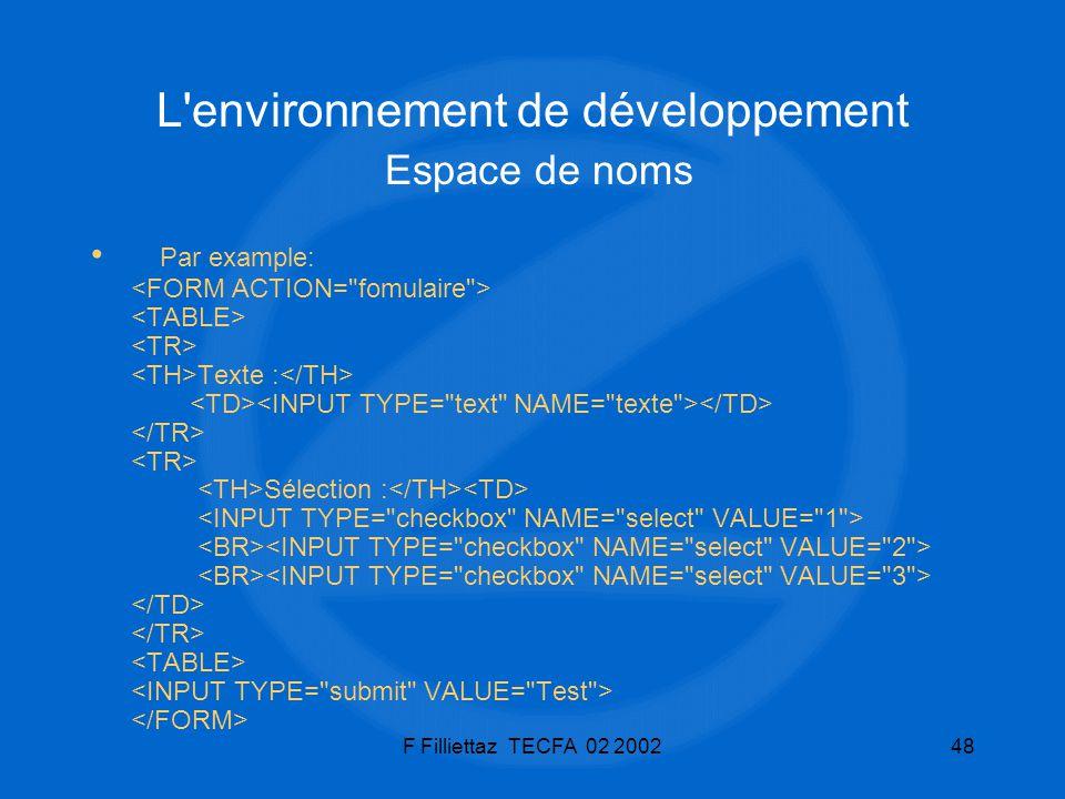 F Filliettaz TECFA 02 200248 L'environnement de développement Espace de noms Par example: Texte : Sélection :