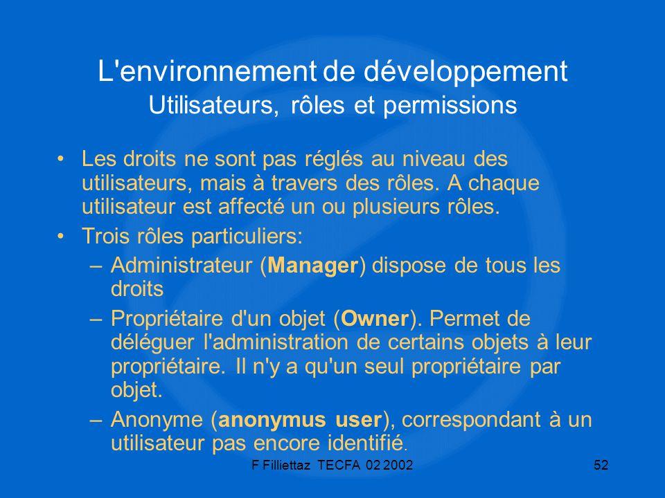F Filliettaz TECFA 02 200252 L'environnement de développement Utilisateurs, rôles et permissions Les droits ne sont pas réglés au niveau des utilisate