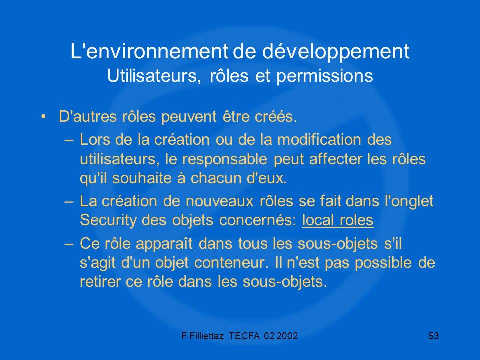 F Filliettaz TECFA 02 200253 L'environnement de développement Utilisateurs, rôles et permissions D'autres rôles peuvent être créés. –Lors de la créati