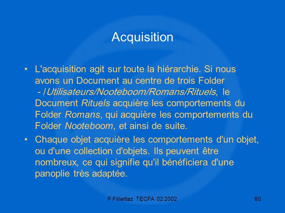 F Filliettaz TECFA 02 200260 Acquisition L'acquisition agit sur toute la hiérarchie. Si nous avons un Document au centre de trois Folder - /Utilisateu