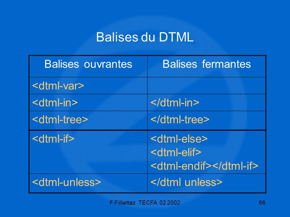F Filliettaz TECFA 02 200266 Balises du DTML Balises ouvrantesBalises fermantes