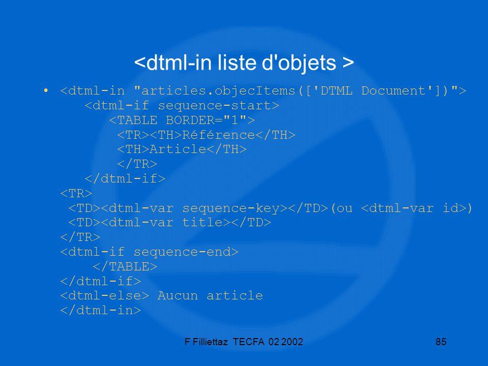 F Filliettaz TECFA 02 200285 Référence Article (ou ) Aucun article