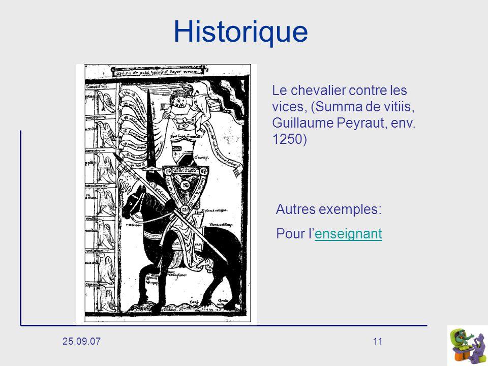 25.09.0711 Historique Le chevalier contre les vices, (Summa de vitiis, Guillaume Peyraut, env.
