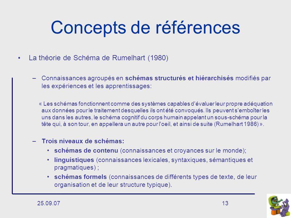25.09.0713 Concepts de références La théorie de Schéma de Rumelhart (1980) –Connaissances agroupés en schémas structurés et hiérarchisés modifiés par les expériences et les apprentissages: « Les schémas fonctionnent comme des systèmes capables d évaluer leur propre adéquation aux données pour le traitement desquelles ils ont été convoqués.