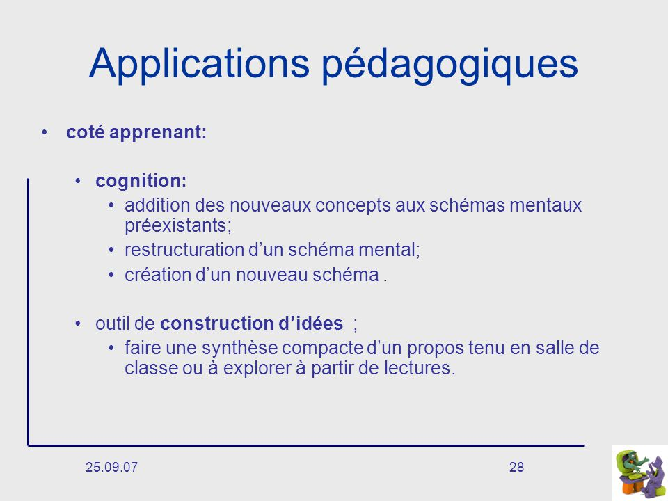 25.09.0728 Applications pédagogiques coté apprenant: cognition: addition des nouveaux concepts aux schémas mentaux préexistants; restructuration dun schéma mental; création dun nouveau schéma.