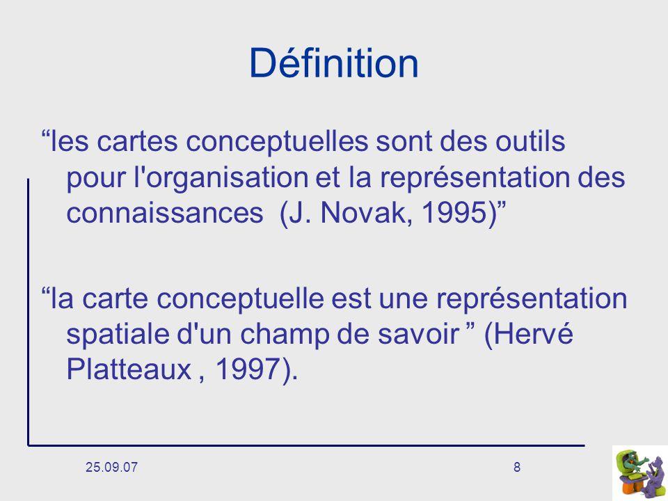 25.09.078 Définition les cartes conceptuelles sont des outils pour l organisation et la représentation des connaissances (J.