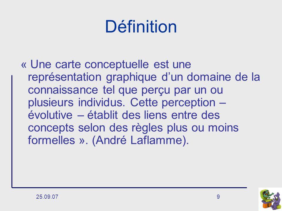 25.09.079 Définition « Une carte conceptuelle est une représentation graphique dun domaine de la connaissance tel que perçu par un ou plusieurs individus.