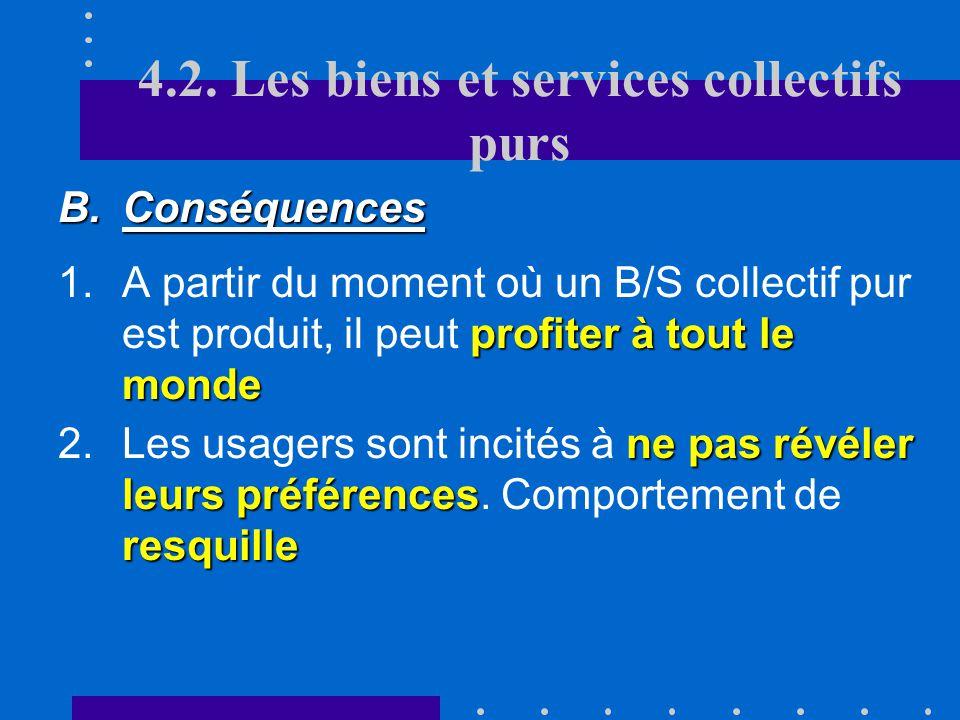 4.2. Les biens et services collectifs purs RNR E NE B/S. privés purs B/S. collectifs mixtes B/S. collectifs purs B./S. collectifs mixtes
