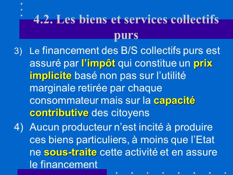 4.2. Les biens et services collectifs purs B.Conséquences profiter à tout le monde 1.A partir du moment où un B/S collectif pur est produit, il peut p