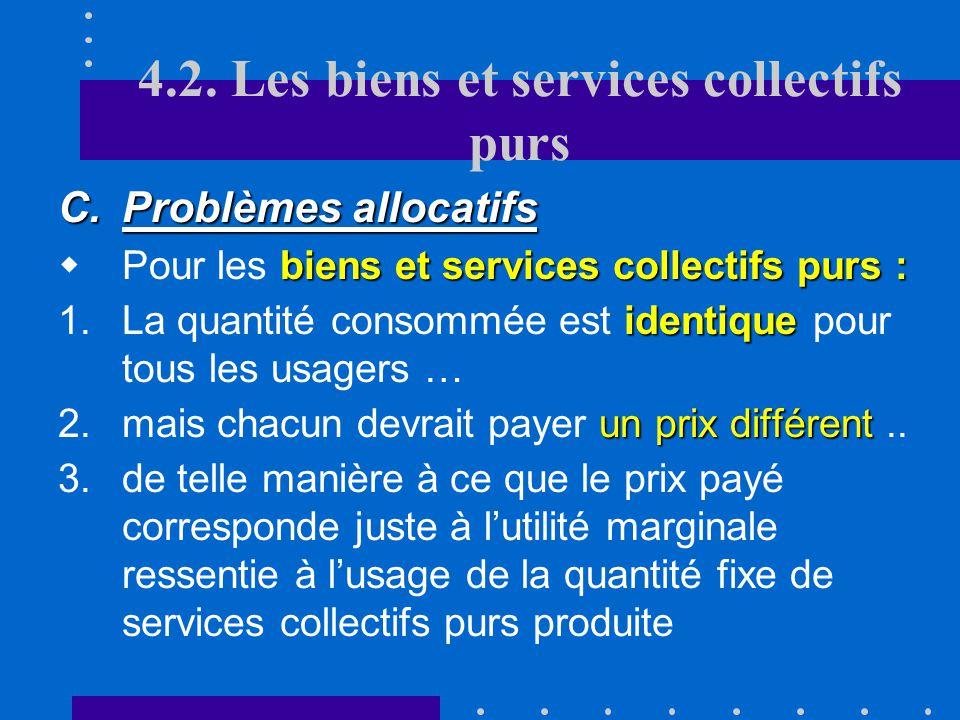 4.2. Les biens et services collectifs purs allocation optimale des ressources pour les B/S. privés purs B/S. collectifs mixtes la NR et E Le marché pe