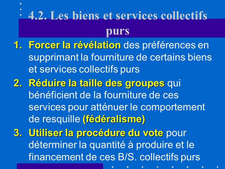 4.2. Les biens et services collectifs purs somme 4.La somme de ces contributions individuelles devrait juste couvrir le coût marginal de production Ch