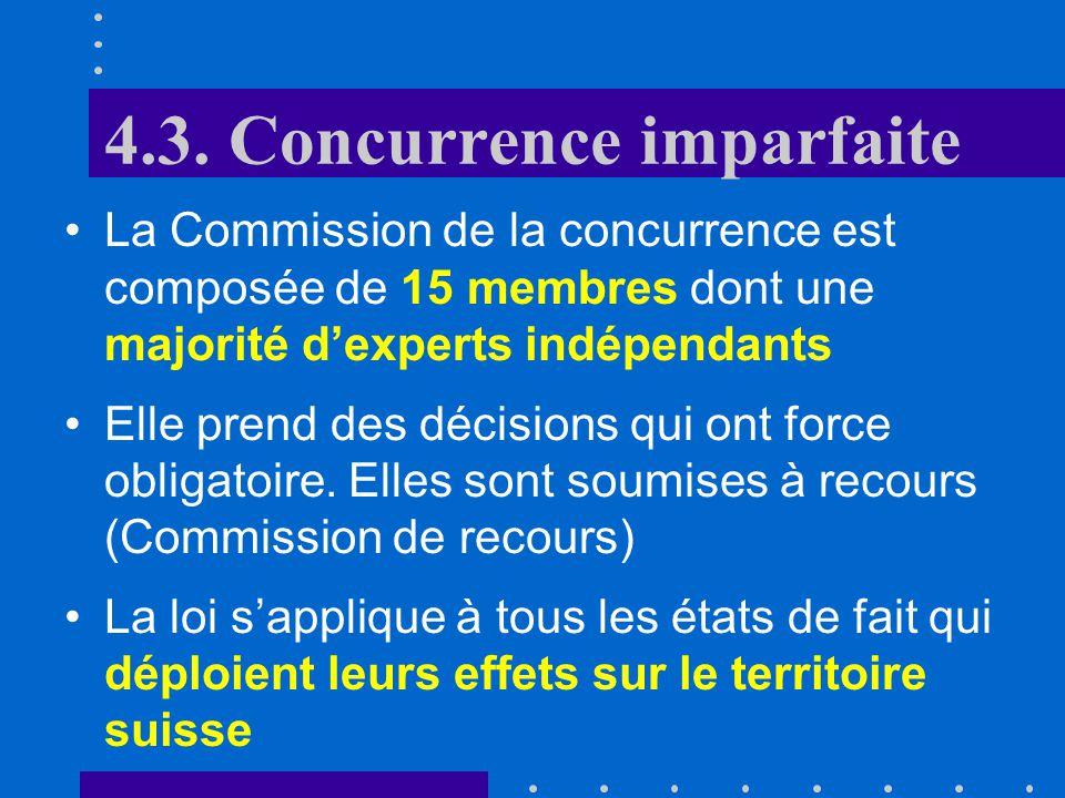 B. Politique de la concurrence 4.3. Concurrence imparfaite: B. Politique de la concurrence La Loi fédérale sur les cartels et autres restrictions à la
