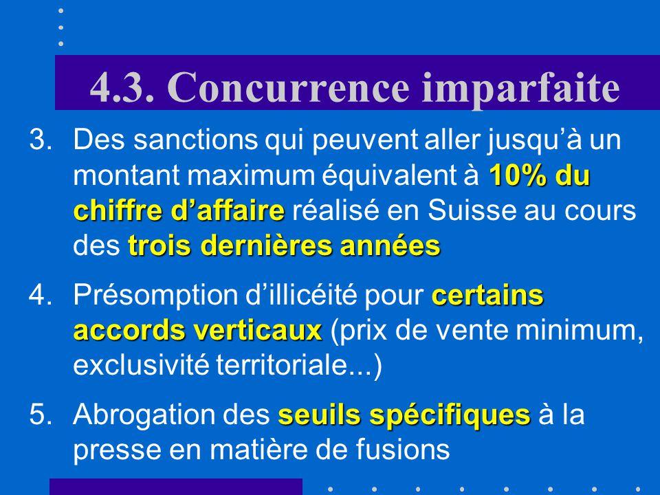 4.3. Concurrence imparfaite changementsPrincipaux changements apportés par la révision de la loi : dinfliger des sanctions 1.La possibilité pour la Co