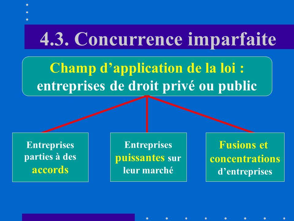 4.3. Concurrence imparfaite dépendance structurelle 6.Le nouvel article 4, al. 2, permet à la ComCo de porter une attention plus soutenue aux problème