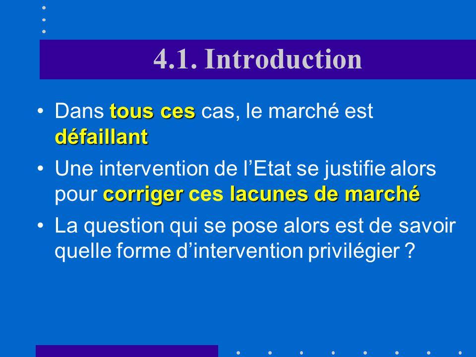4.1. Introduction Dans certaines circonstances, le marché conduit à une production insuffisante (cas de la concurrence imparfaite) voire même nulle (c