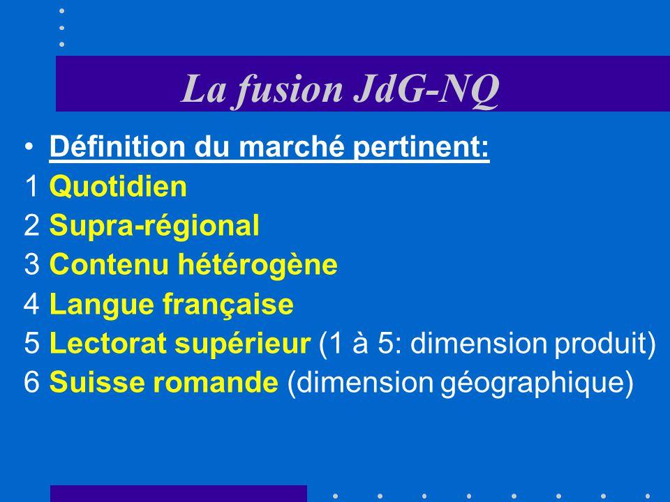 La fusion JdG-NQ Notification: Chiffre daffaires NQ: 298,6 millions Chiffre daffaires JdG: 19,9 millions Le seuil de notification est dépassé car, pou