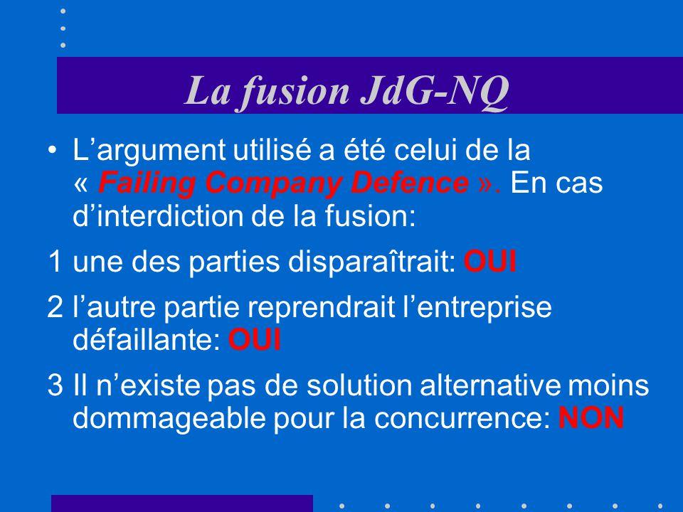 La fusion JdG-NQ Définition du marché pertinent: 1Quotidien 2Supra-régional 3Contenu hétérogène 4Langue française 5Lectorat supérieur (1 à 5: dimensio