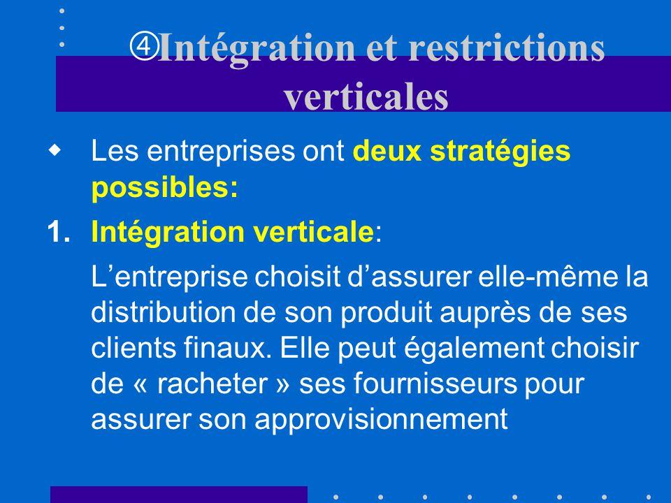 Intégration et restrictions verticales Jusquà présent, nous nous sommes concentrés sur des entreprises situées sur le même échelon du marché: dimensio