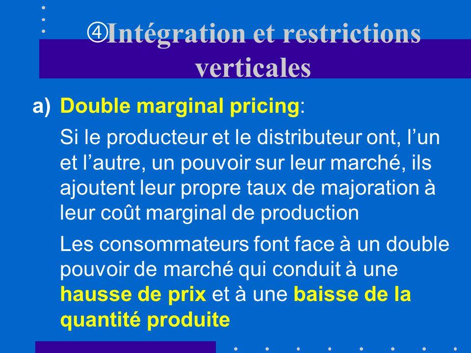 Lorsque lintégration est trop coûteuse ou impossible, les entreprises peuvent choisir dimposer des restrictions verticales Cette stratégie répond à di