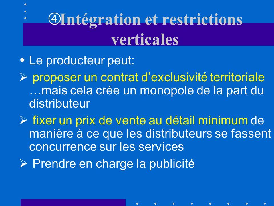 b)Resquille de la part des distributeurs: Les distributeurs peuvent être tentés de minimiser leurs efforts de publicité, dinformation ou de services e