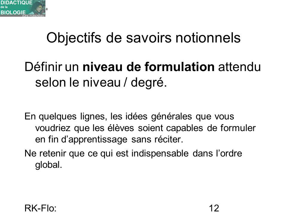 Université de Genève FORENSEC RK-Flo: 17/10/10 12 Objectifs de savoirs notionnels Définir un niveau de formulation attendu selon le niveau / degré. En