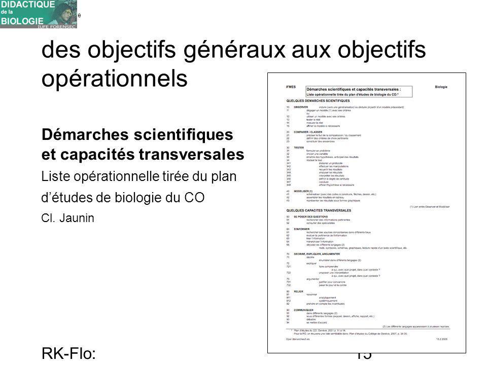 Université de Genève FORENSEC RK-Flo: 17/10/10 15 des objectifs généraux aux objectifs opérationnels Démarches scientifiques et capacités transversale