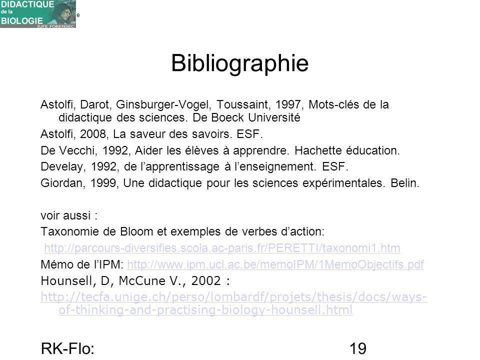 Université de Genève FORENSEC RK-Flo: 17/10/10 19 Bibliographie Astolfi, Darot, Ginsburger-Vogel, Toussaint, 1997, Mots-clés de la didactique des scie