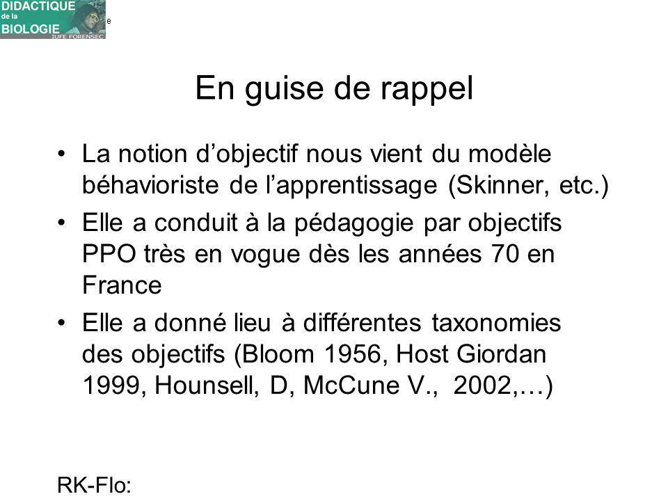 Université de Genève FORENSEC RK-Flo: 17/10/10 En guise de rappel La notion dobjectif nous vient du modèle béhavioriste de lapprentissage (Skinner, et