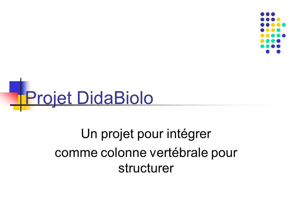 Projet DidaBiolo Un projet pour intégrer comme colonne vertébrale pour structurer