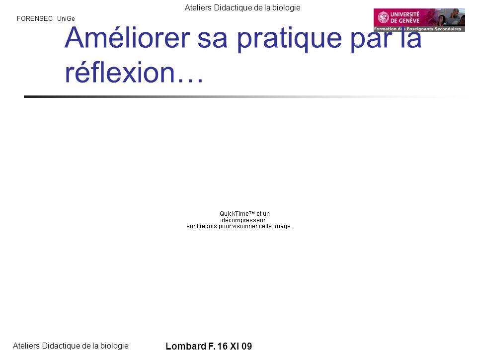 FORENSEC UniGe Ateliers Didactique de la biologie Lombard F. 16 XI 09 Améliorer sa pratique par la réflexion…