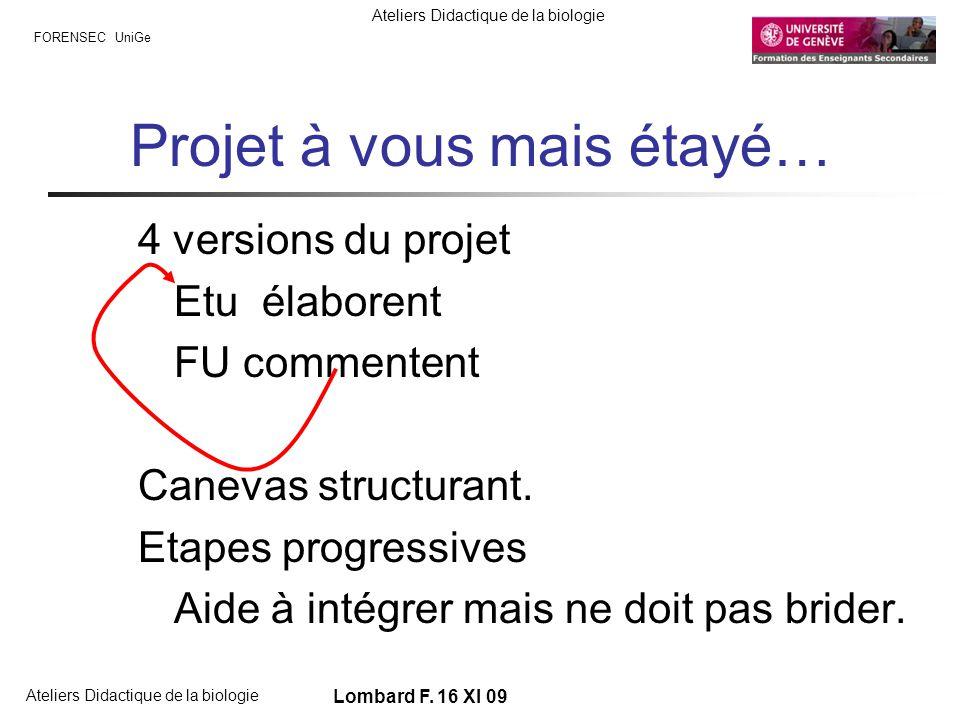 FORENSEC UniGe Ateliers Didactique de la biologie Lombard F. 16 XI 09 Projet à vous mais étayé… 4 versions du projet Etu élaborent FU commentent Canev