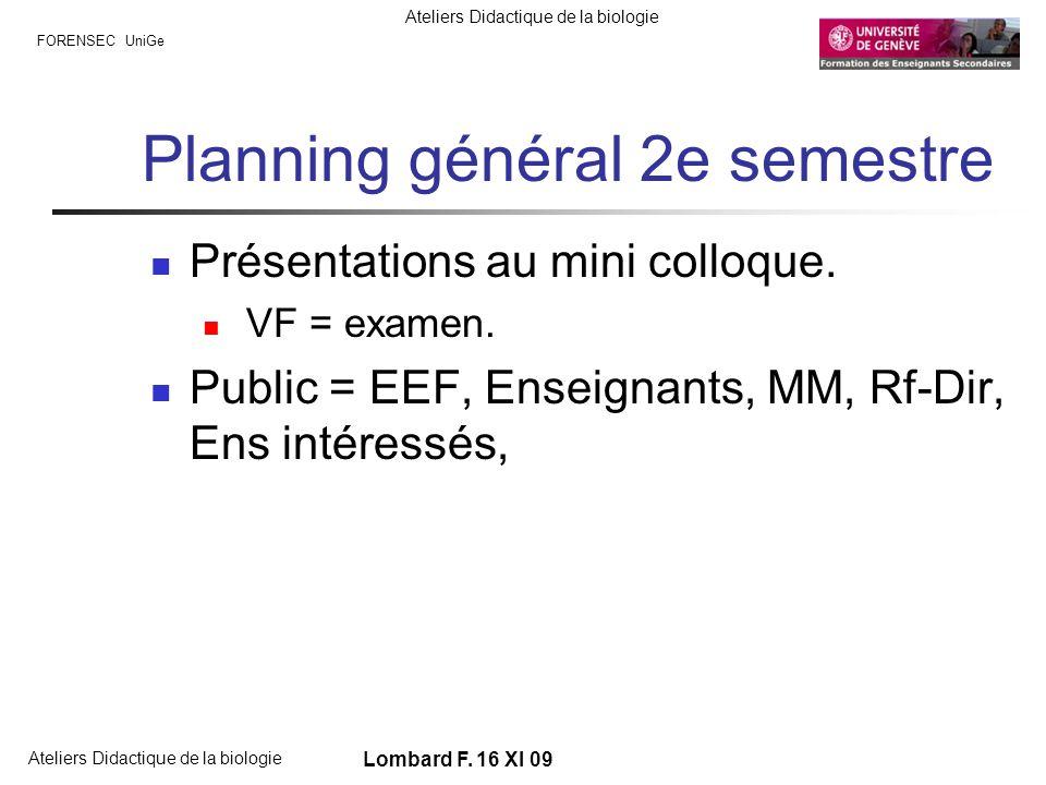 FORENSEC UniGe Ateliers Didactique de la biologie Lombard F. 16 XI 09 Planning général 2e semestre Présentations au mini colloque. VF = examen. Public