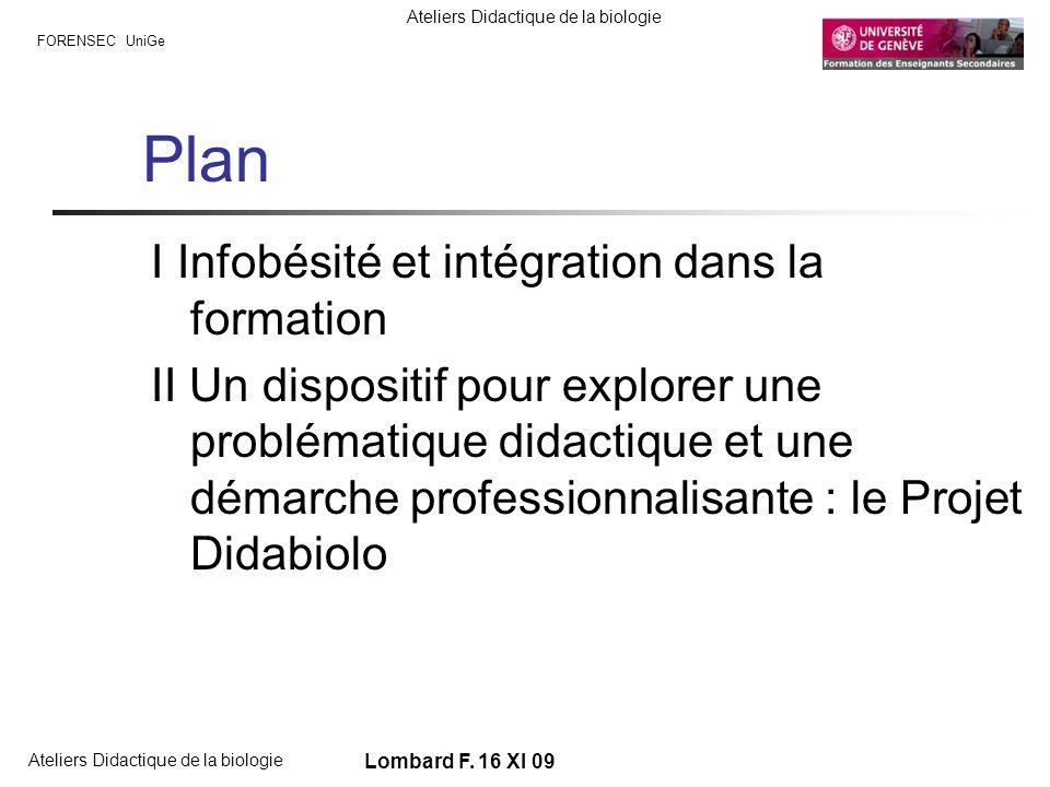FORENSEC UniGe Ateliers Didactique de la biologie Lombard F. 16 XI 09 Plan I Infobésité et intégration dans la formation II Un dispositif pour explore
