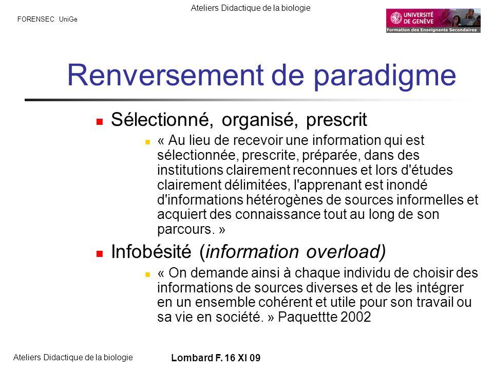 FORENSEC UniGe Ateliers Didactique de la biologie Lombard F. 16 XI 09 Renversement de paradigme Sélectionné, organisé, prescrit « Au lieu de recevoir