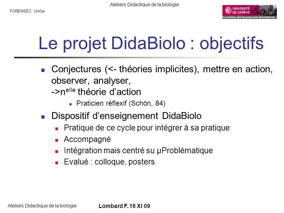 FORENSEC UniGe Ateliers Didactique de la biologie Lombard F. 16 XI 09 Le projet DidaBiolo : objectifs Conjectures ( n elle théorie daction Praticien r