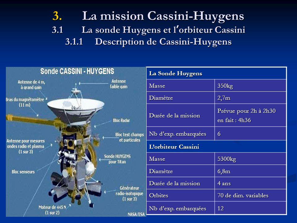 3.La mission Cassini-Huygens 3.1La sonde Huygens et l orbiteur Cassini 3.1.1Description de Cassini-Huygens La Sonde Huygens Masse350kg Diamètre2,7m Durée de la mission Prévue pour 2h à 2h30 en fait : 4h36 Nb dexp.
