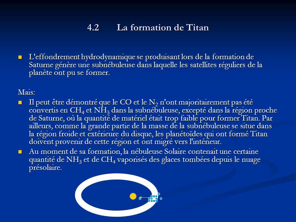 4.2La formation de Titan L effondrement hydrodynamique se produisant lors de la formation de Saturne génère une subnébuleuse dans laquelle les satellites réguliers de la planète ont pu se former.