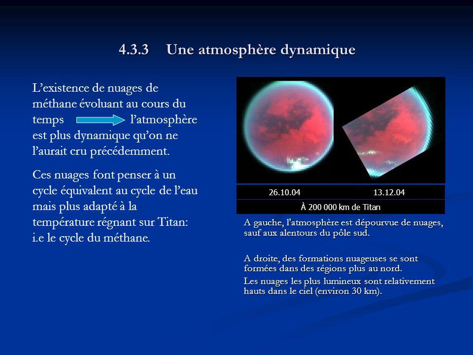 4.3.3Une atmosphère dynamique A gauche, l atmosphère est dépourvue de nuages, sauf aux alentours du pôle sud.