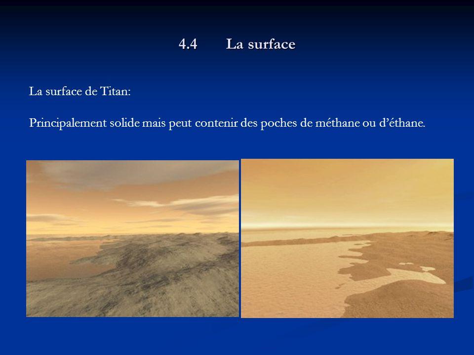 4.4La surface La surface de Titan: Principalement solide mais peut contenir des poches de méthane ou déthane.