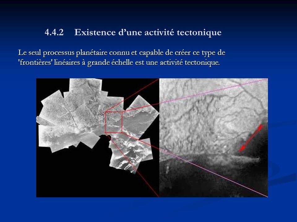 Le seul processus planétaire connu et capable de créer ce type de frontières linéaires à grande échelle est une activité tectonique.