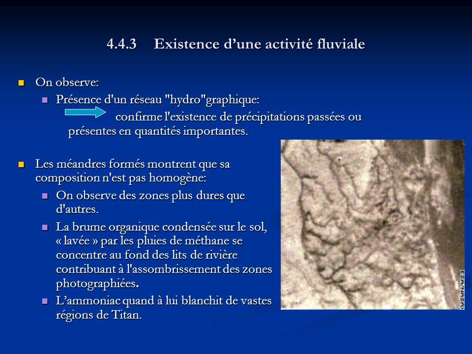 4.4.3Existence dune activité fluviale On observe: On observe: Présence d un réseau hydro graphique: Présence d un réseau hydro graphique: confirme l existence de précipitations passées ou présentes en quantités importantes.
