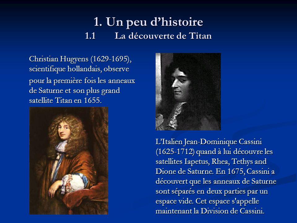 1. Un peu dhistoire 1.1La découverte de Titan Christian Hugyens (1629-1695), scientifique hollandais, observe pour la première fois les anneaux de Sat