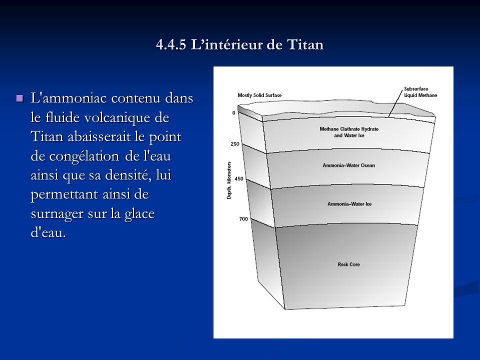 4.4.5 Lintérieur de Titan L ammoniac contenu dans le fluide volcanique de Titan abaisserait le point de congélation de l eau ainsi que sa densité, lui permettant ainsi de surnager sur la glace d eau.