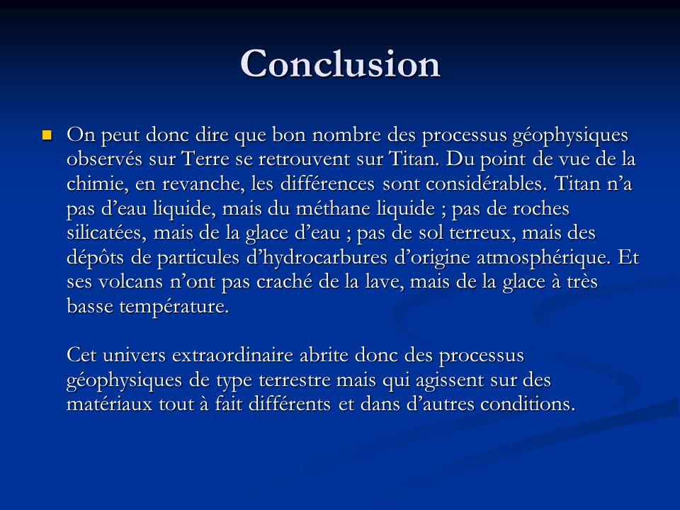 Conclusion On peut donc dire que bon nombre des processus géophysiques observés sur Terre se retrouvent sur Titan.