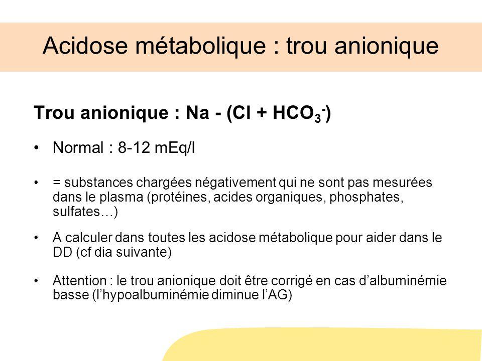 Acidose métabolique : trou anionique Trou anionique : Na - (Cl + HCO 3 - ) Normal : 8-12 mEq/l = substances chargées négativement qui ne sont pas mesu