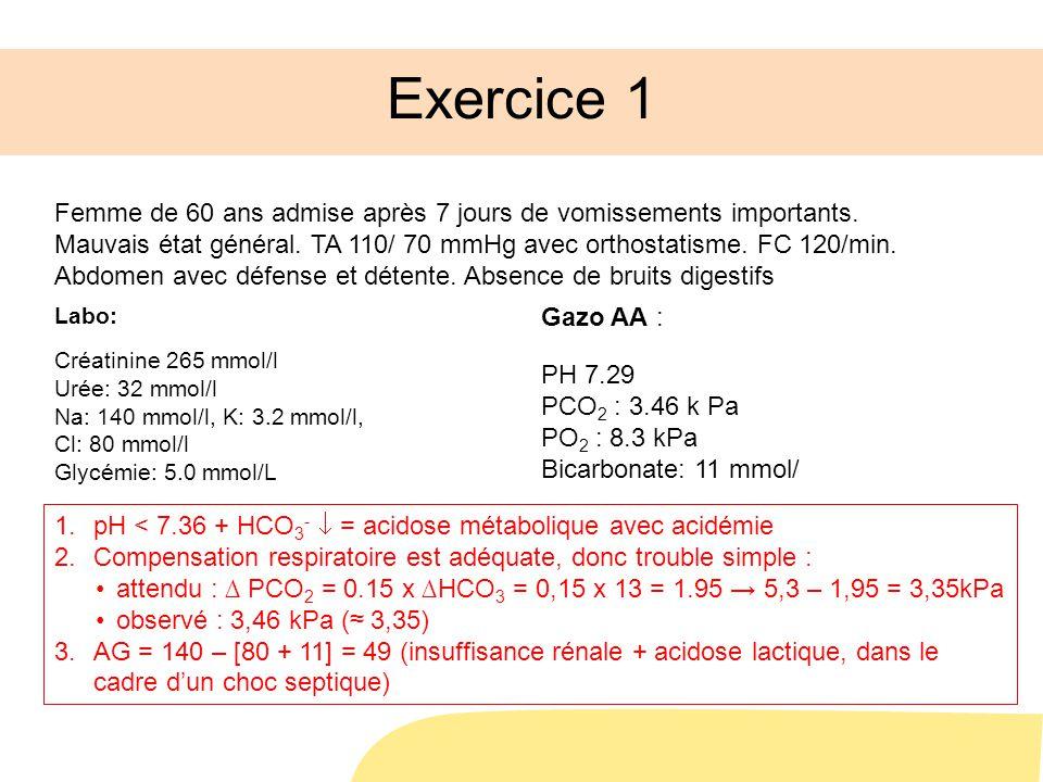 1.pH < 7.36 + HCO 3 - = acidose métabolique avec acidémie 2.Compensation respiratoire est adéquate, donc trouble simple : attendu : PCO 2 = 0.15 x HCO